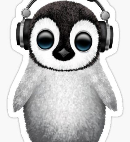 Cute Baby Penguin Dj Wearing Headphones Sticker