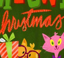 Christmas card - Meowy Christmas Sticker