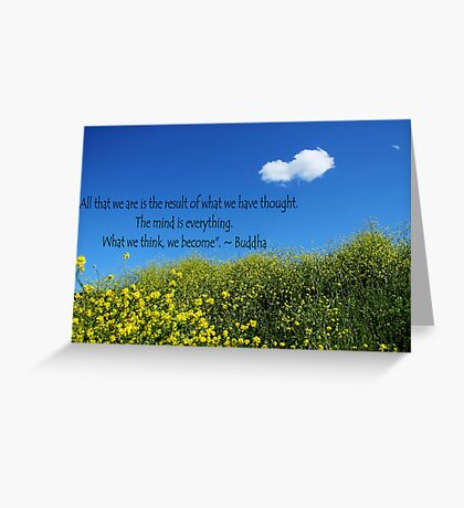 Buddha Quote on Blue Sky and Fluffy White Cloud Greeting Card