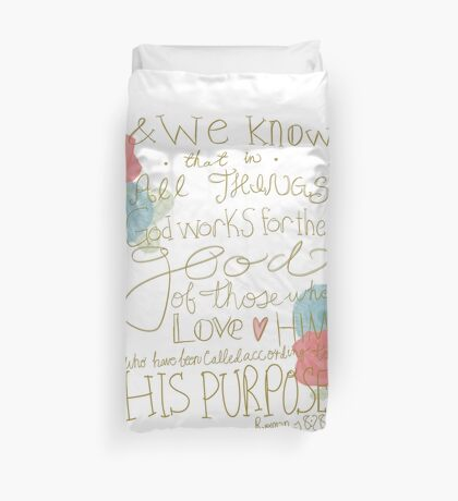 Romans 8:28 - color Duvet Cover