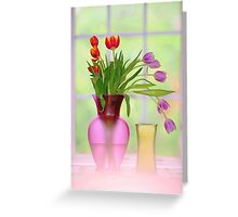 window and tulips.. Greeting Card
