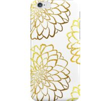 Dahlia gold foil pattern on white  iPhone Case/Skin