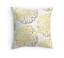 Dahlia gold foil pattern on white  Throw Pillow