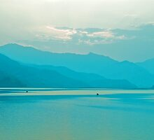 Blue Pokhara Sunset by Valerie Rosen