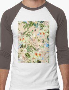 Retro Tropical Flowers Men's Baseball ¾ T-Shirt