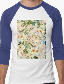 Retro Tropical Flowers Men's Baseball ¾ T-Shirt