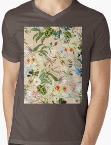 Retro Tropical Flowers Mens V-Neck T-Shirt