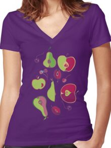 Fruit Collection Women's Fitted V-Neck T-Shirt
