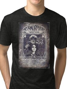 Metamorphosis by The Wolf Man: A Full Service Hair Salon (Old Metal Sign) Tri-blend T-Shirt