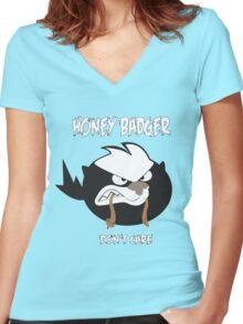 Angry Honey Badger Women's Fitted V-Neck T-Shirt