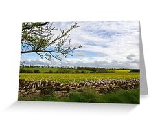 Cotswolds Pastures and Stone Wall Greeting Card