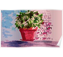 Potted plants along wall, watercolor Poster