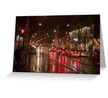 Queen Street Looking West In The Evening Rain Greeting Card