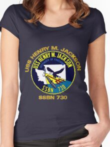 USS Henry M. Jackson Crest for Dark Colors Women's Fitted Scoop T-Shirt