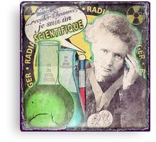 Popular Science: M. Curie (French) distressed Canvas Print