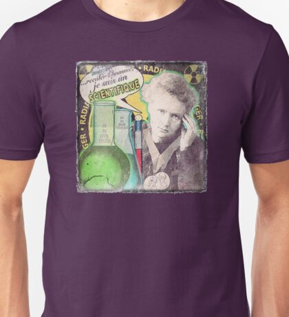 Popular Science: M. Curie (French) distressed Unisex T-Shirt