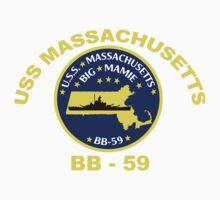 USS Massachusetts (BB-59) for Dark Backgrounds Kids Tee