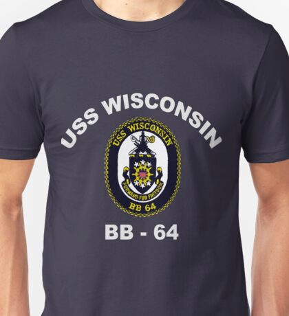 USS Wisconsin (BB-64) Crest for Dark Colors Unisex T-Shirt