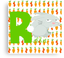r for rabbit Canvas Print