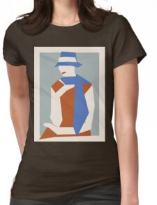 Woman In Blue Hat Womens Fitted T-Shirt