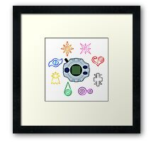 Digivice and crests (Digimon Adventure) Framed Print
