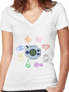 Digivice and crests (Digimon Adventure) Women's Fitted V-Neck T-Shirt
