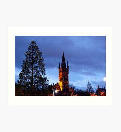 Glasgow University at night Art Print
