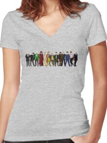 Doctor Who - 13 Doctors lineup Women's Fitted V-Neck T-Shirt