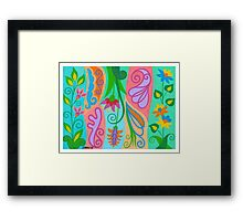 FLOWERS AND CHARACTERS Framed Print