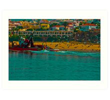 colour boat and seagulls Art Print