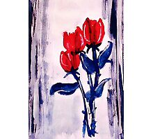 3 Red roses to end your week with,watercolor Photographic Print