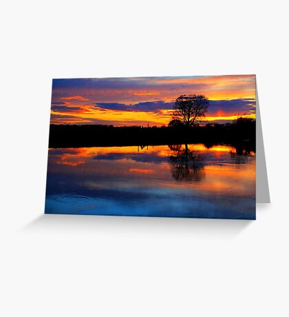 April Sunset over the River Tees, at Broken Scarr. Greeting Card
