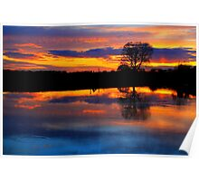 April Sunset over the River Tees, at Broken Scarr. Poster
