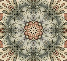 abstract flowers hand drawn and  kaleidoscope mandala by Sviatlana Kandybovich