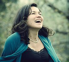 Columbian woman laughing by olivera kenic