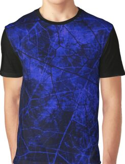 Deep Royal Blue Black Crackle Lacquer Pattern Grunge Texture Graphic T-Shirt