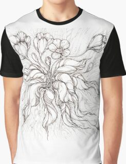 Bridal Bouquet.Hand drawn watercolor and brown ink drawing  Graphic T-Shirt