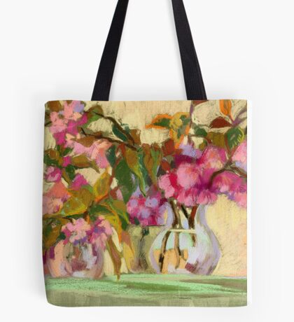 Cherry Blossom. Flowers in a vase.  Tote Bag