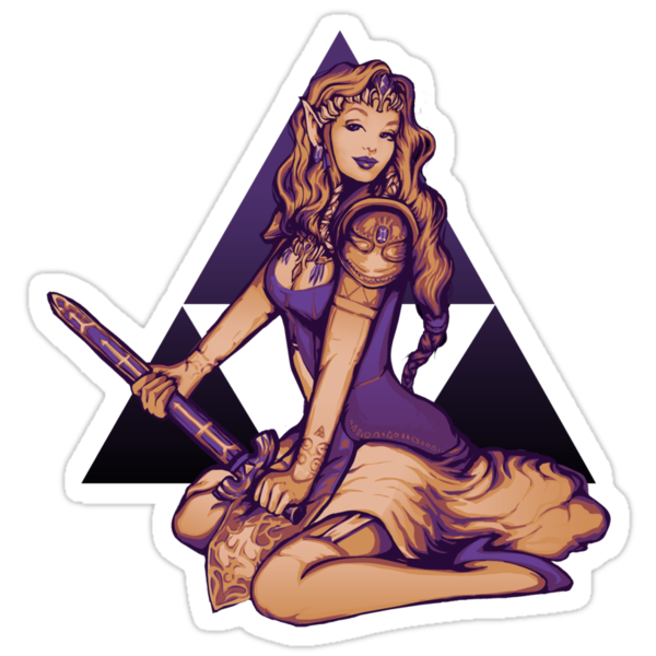 Zelda Pinup Sticker by MeganLara