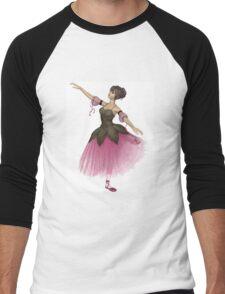 Pink Flower Ballerina in Arabesque Pose Men's Baseball ¾ T-Shirt