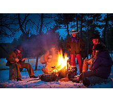 Cowboy Campfire Photographic Print