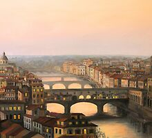 Sunset over ponte Vecchio in Florence by kirilart
