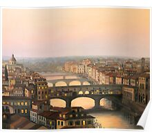 Sunset over ponte Vecchio in Florence Poster