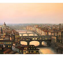 Sunset over ponte Vecchio in Florence Photographic Print