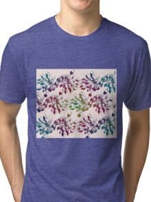 floral seamless pattern with hand drawn flowering crocus Tri-blend T-Shirt