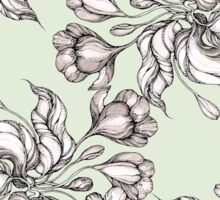 Vintage floral seamless pattern with hand drawn flowering crocus Sticker