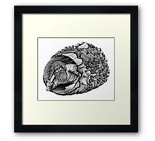 Diogenes surreal pen ink black and white drawing Framed Print