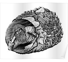 Diogenes surreal pen ink black and white drawing Poster