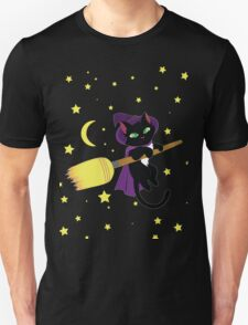 Flying Witch Cat Unisex T-Shirt