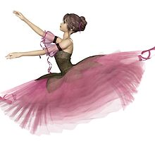 Pink Flower Ballerina Leaping by algoldesigns